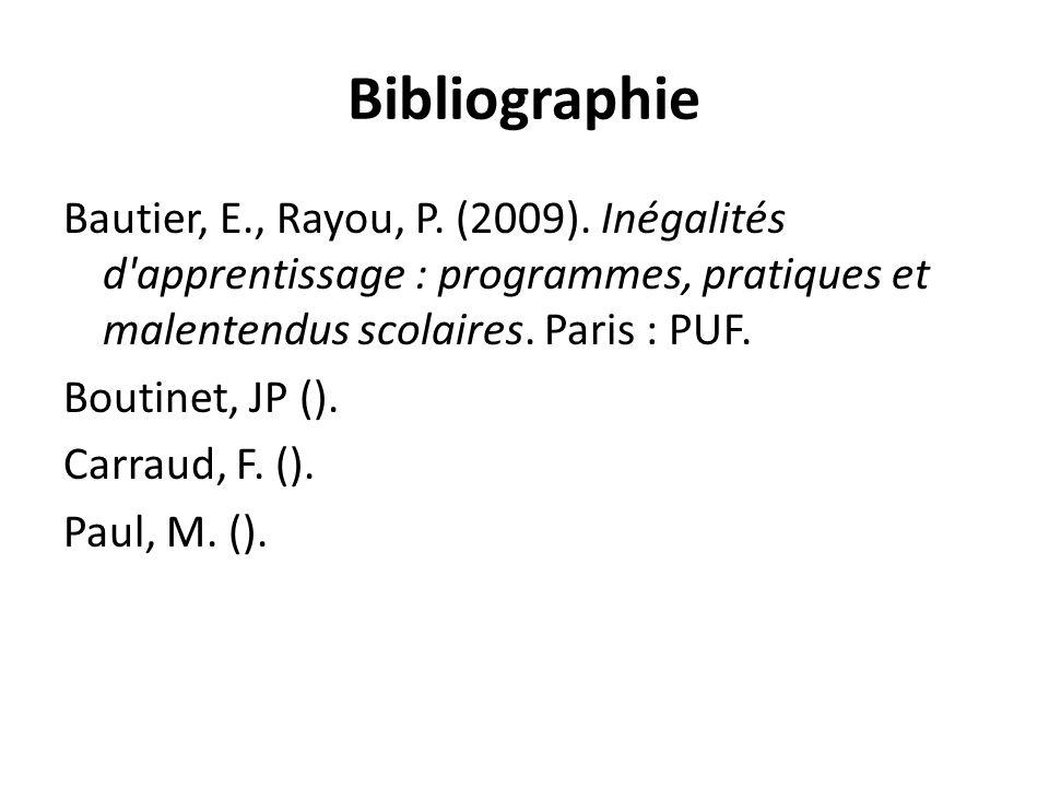 Bibliographie Bautier, E., Rayou, P. (2009).