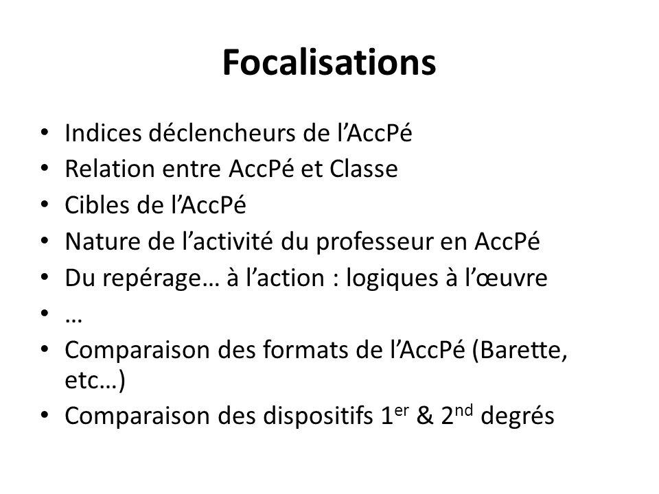Focalisations Indices déclencheurs de lAccPé Relation entre AccPé et Classe Cibles de lAccPé Nature de lactivité du professeur en AccPé Du repérage… à laction : logiques à lœuvre … Comparaison des formats de lAccPé (Barette, etc…) Comparaison des dispositifs 1 er & 2 nd degrés