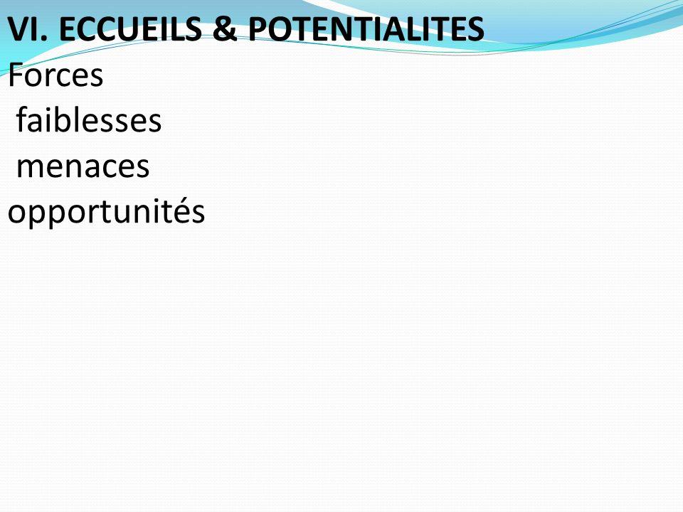 VI. ECCUEILS & POTENTIALITES Forces faiblesses menaces opportunités