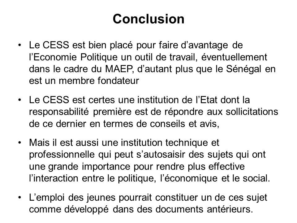 Conclusion Le CESS est bien placé pour faire davantage de lEconomie Politique un outil de travail, éventuellement dans le cadre du MAEP, dautant plus