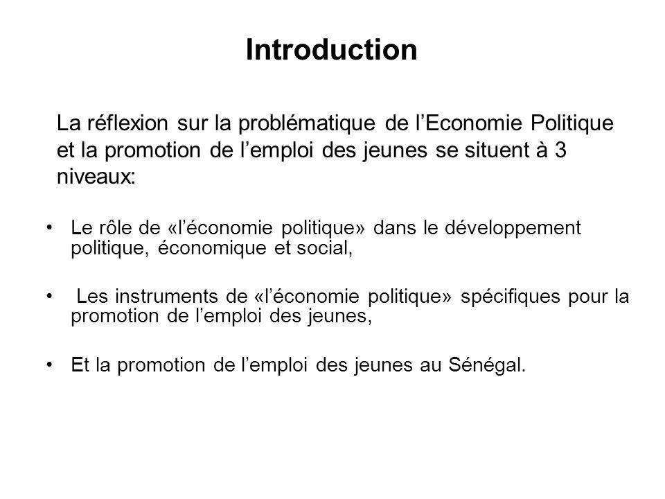 Le rôle de «léconomie politique» dans le développement politique, économique et social, Les instruments de «léconomie politique» spécifiques pour la promotion de lemploi des jeunes, Et la promotion de lemploi des jeunes au Sénégal.