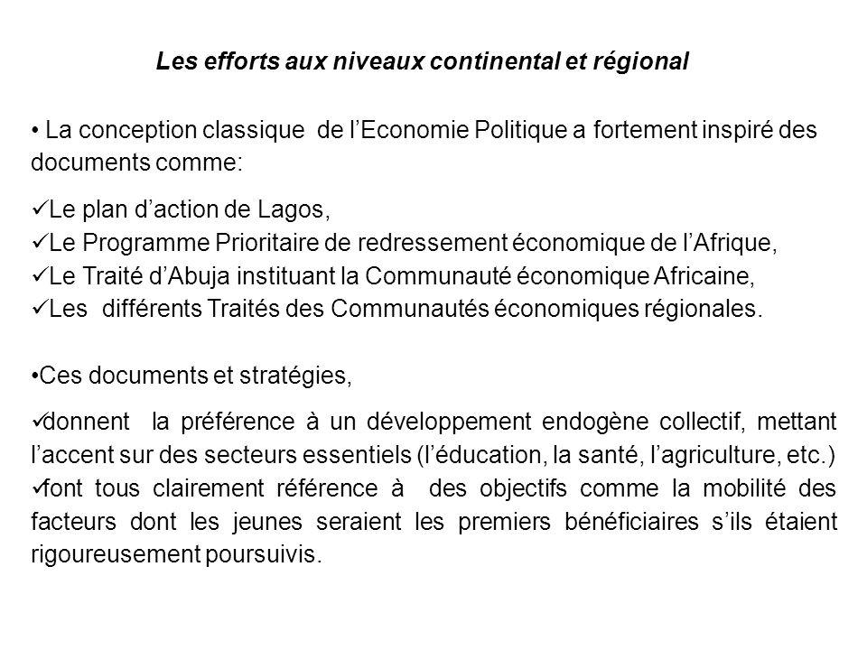 Les efforts aux niveaux continental et régional Ces documents et stratégies, gh donnent la préférence à un développement endogène collectif, mettant l