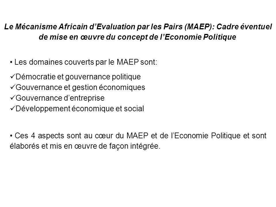 Ces 4 aspects sont au cœur du MAEP et de lEconomie Politique et sont élaborés et mis en œuvre de façon intégrée. Les domaines couverts par le MAEP son
