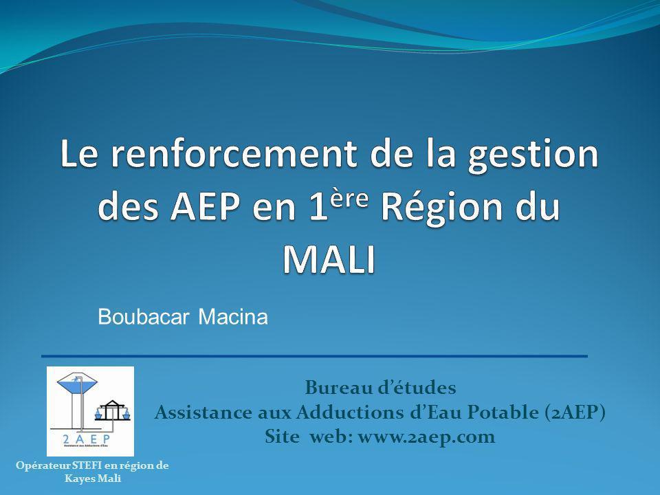 Bureau détudes Assistance aux Adductions dEau Potable (2AEP) Site web: www.2aep.com Opérateur STEFI en région de Kayes Mali Boubacar Macina