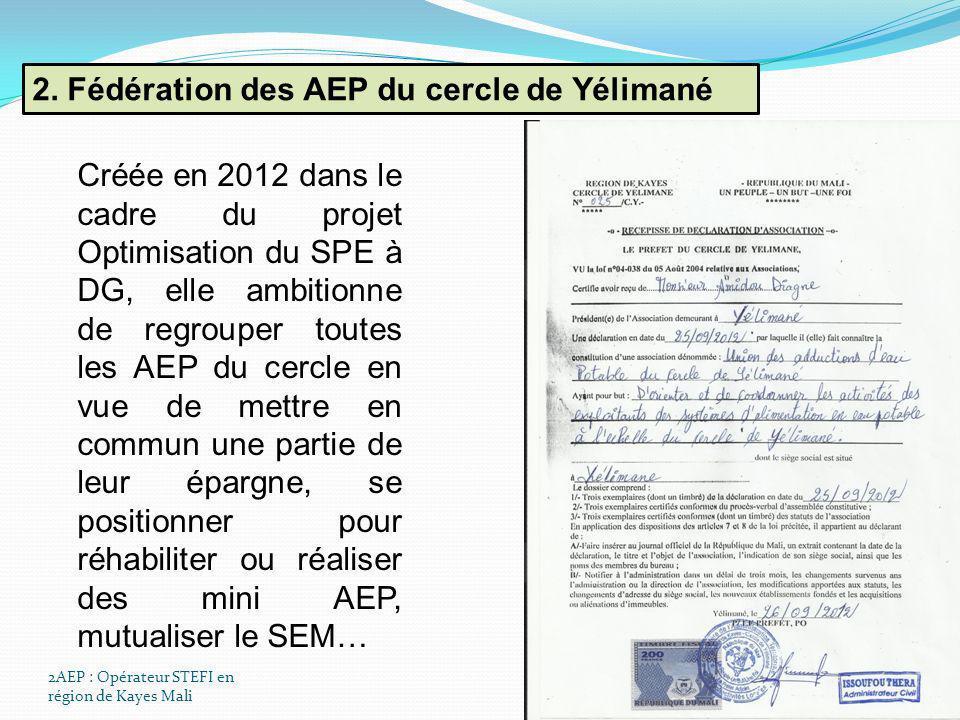 2AEP : Opérateur STEFI en région de Kayes Mali 2. Fédération des AEP du cercle de Yélimané Créée en 2012 dans le cadre du projet Optimisation du SPE à