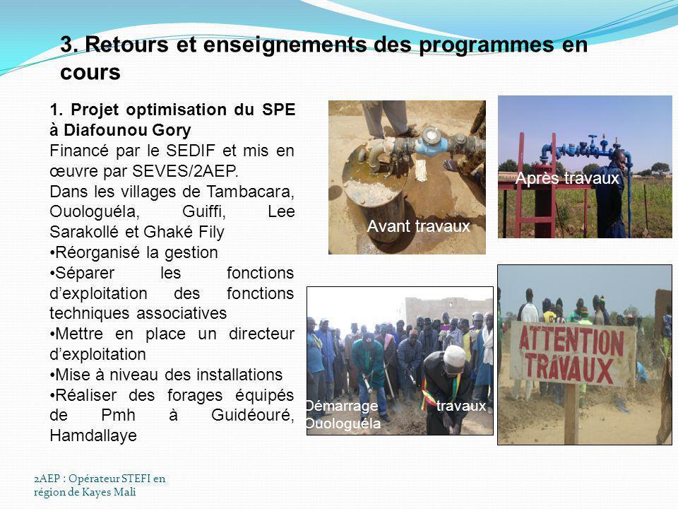 2AEP : Opérateur STEFI en région de Kayes Mali 3. Retours et enseignements des programmes en cours 1. Projet optimisation du SPE à Diafounou Gory Fina