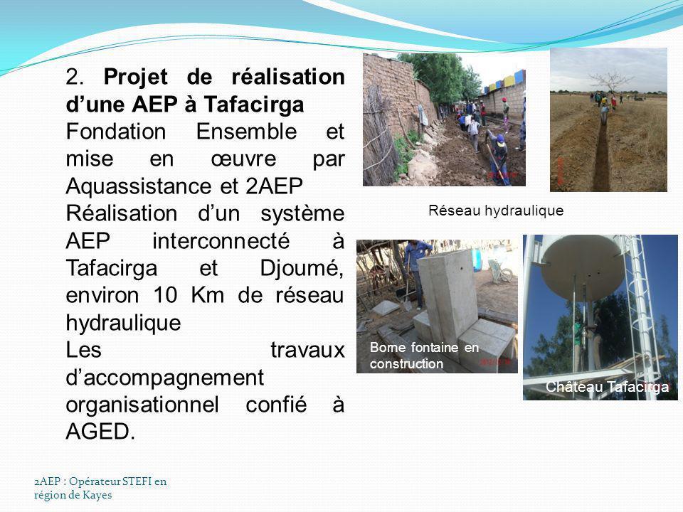 2AEP : Opérateur STEFI en région de Kayes 2. Projet de réalisation dune AEP à Tafacirga Fondation Ensemble et mise en œuvre par Aquassistance et 2AEP