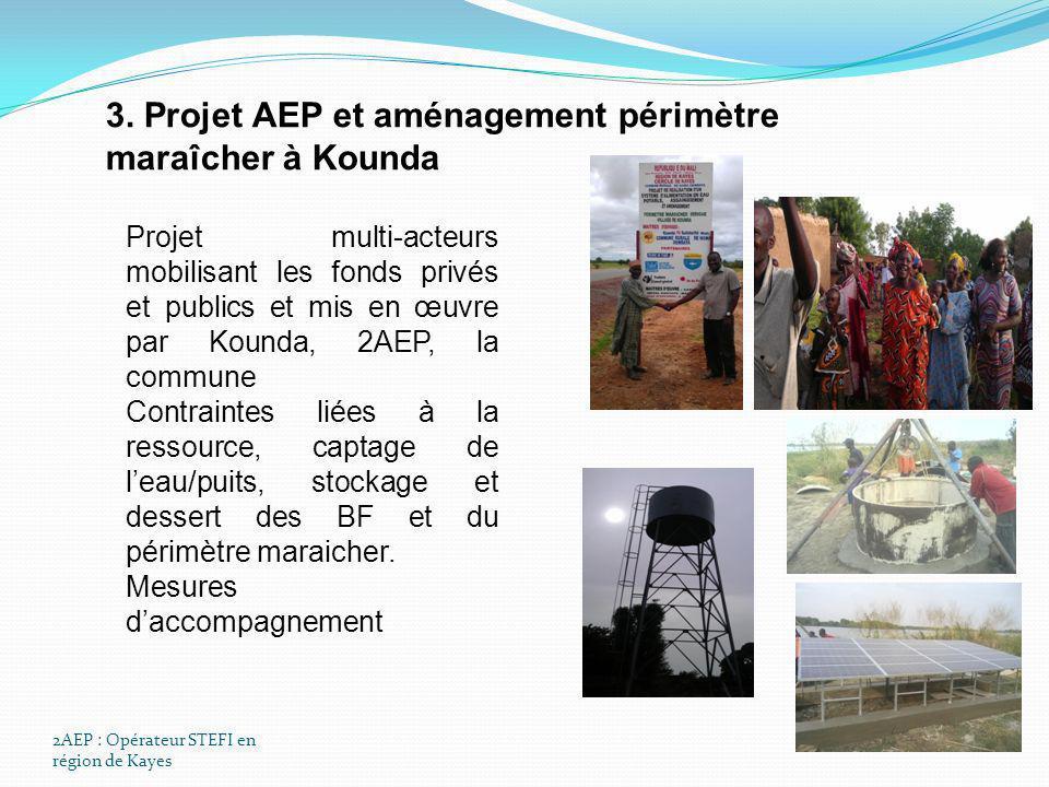 2AEP : Opérateur STEFI en région de Kayes 3. Projet AEP et aménagement périmètre maraîcher à Kounda Projet multi-acteurs mobilisant les fonds privés e