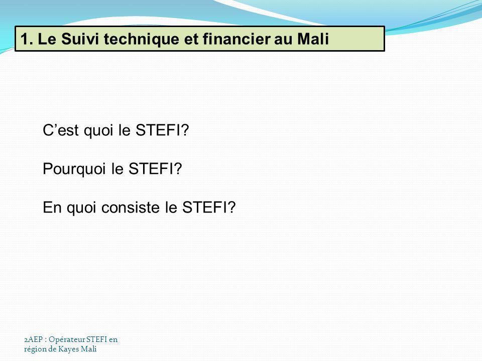 1. Le Suivi technique et financier au Mali 2AEP : Opérateur STEFI en région de Kayes Mali Cest quoi le STEFI? Pourquoi le STEFI? En quoi consiste le S