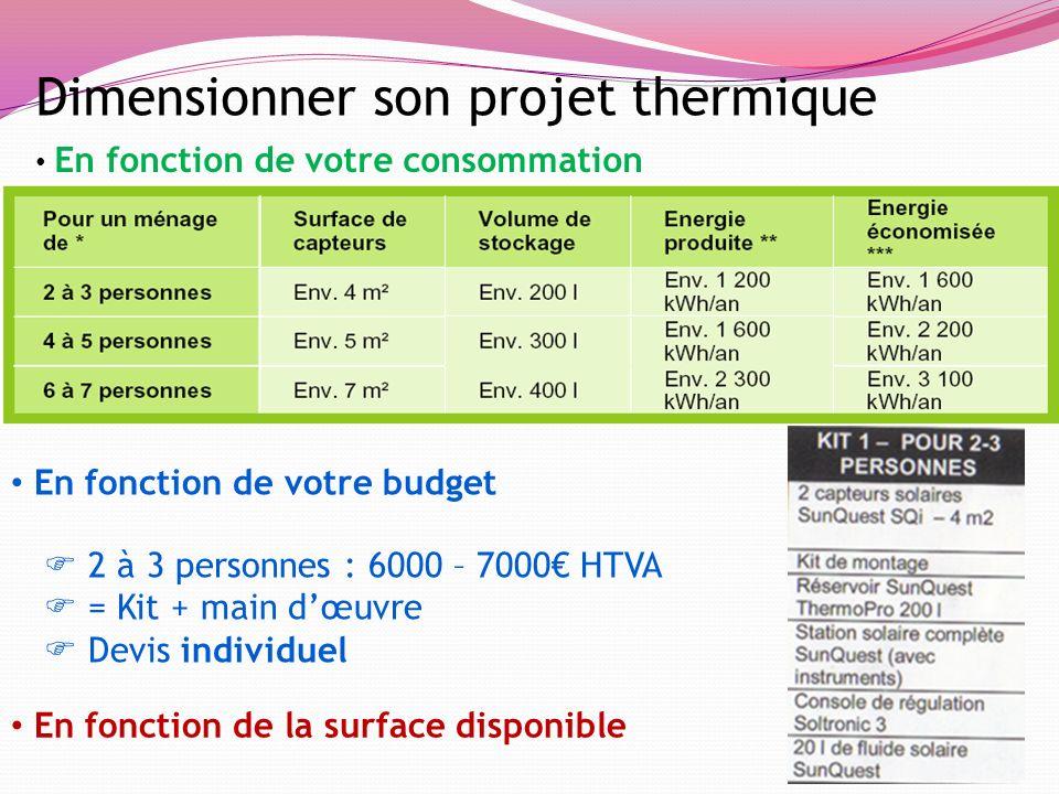 Dimensionner son projet thermique En fonction de votre consommation En fonction de votre budget En fonction de la surface disponible 2 à 3 personnes :