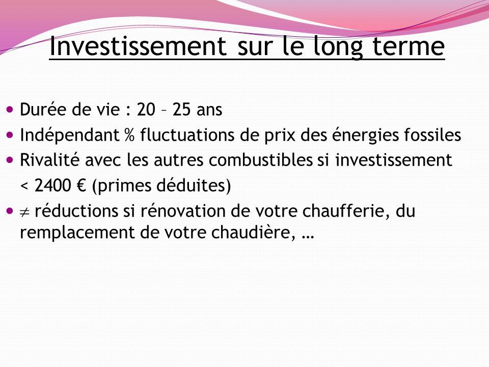 Investissement sur le long terme Durée de vie : 20 – 25 ans Indépendant % fluctuations de prix des énergies fossiles Rivalité avec les autres combusti