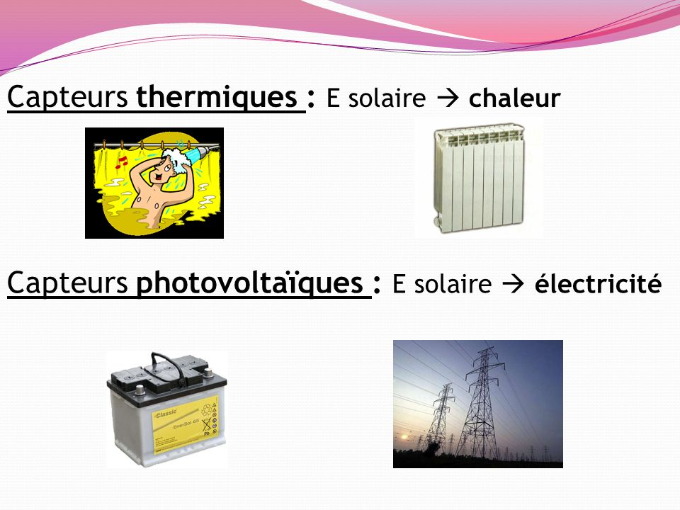 Capteurs thermiques : E solaire chaleur Capteurs photovoltaïques : E solaire électricité