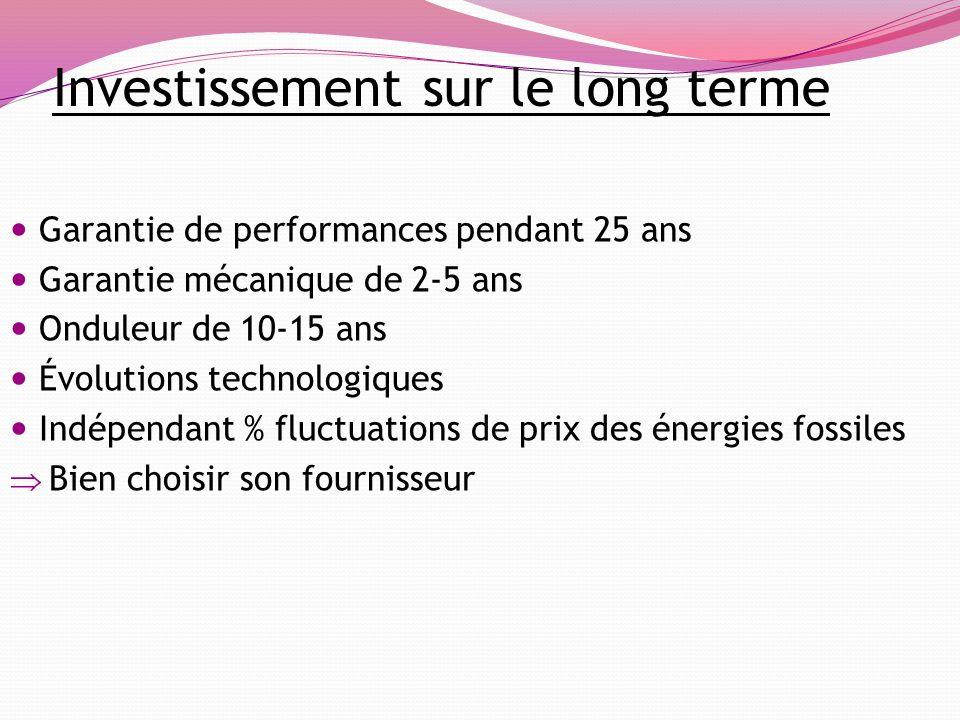 Investissement sur le long terme Garantie de performances pendant 25 ans Garantie mécanique de 2-5 ans Onduleur de 10-15 ans Évolutions technologiques