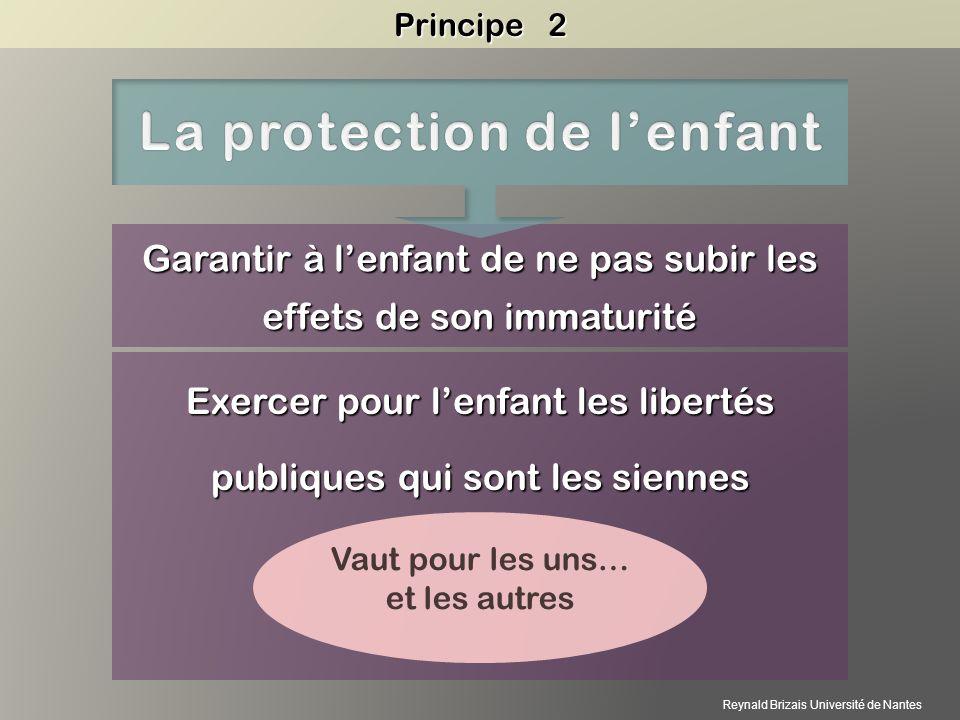 Garantir à lenfant de ne pas subir les effets de son immaturité Exercer pour lenfant les libertés publiques qui sont les siennes Vaut pour les uns… et les autres Principe 2 Reynald Brizais Université de Nantes