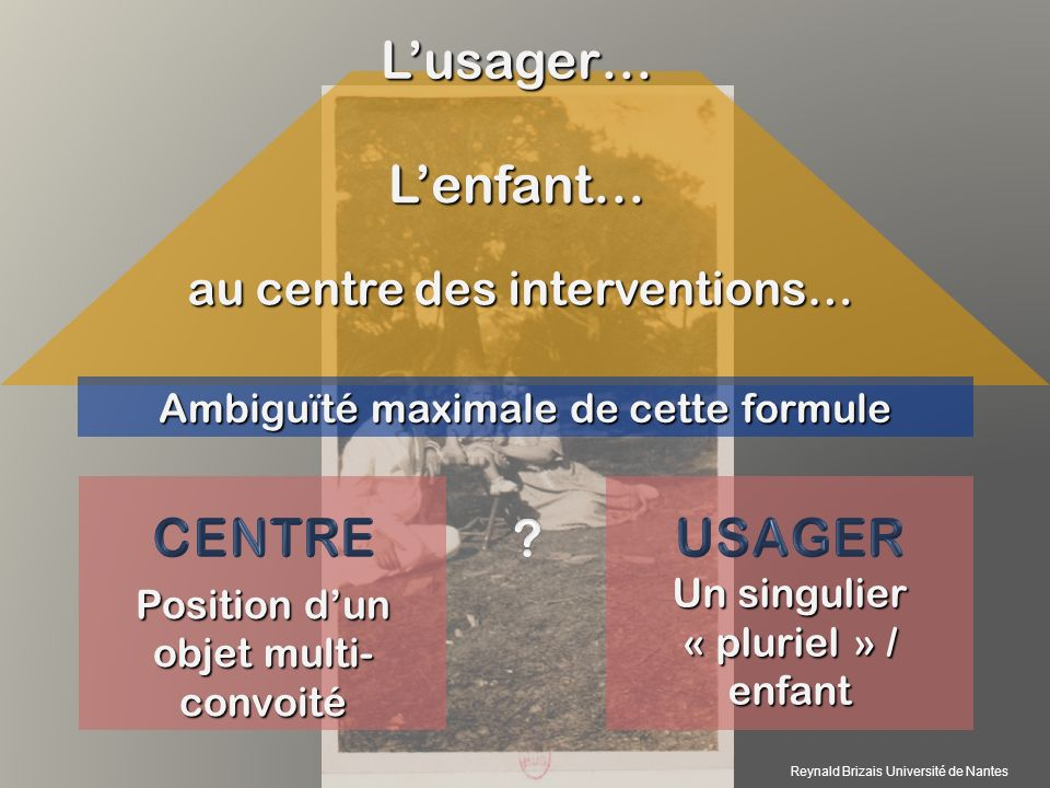 Ambiguïté maximale de cette formule Position dun objet multi- convoité Un singulier « pluriel » / enfant Lenfant… Lusager… au centre des interventions… Reynald Brizais Université de Nantes