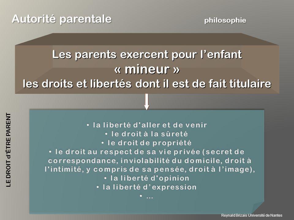 Les parents exercent pour lenfant « mineur » les droits et libertés dont il est de fait titulaire Autorité parentale philosophie LE DROIT dÊTRE PARENT Reynald Brizais Université de Nantes