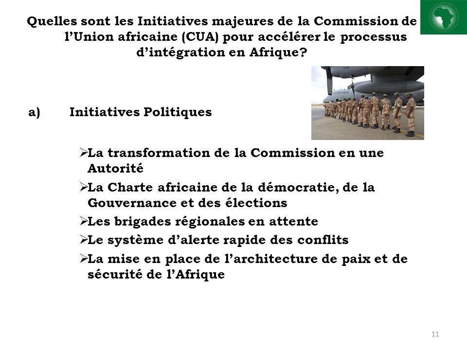 Quelles sont les Initiatives majeures de la Commission de lUnion africaine (CUA) pour accélérer le processus dintégration en Afrique? a)Initiatives Po