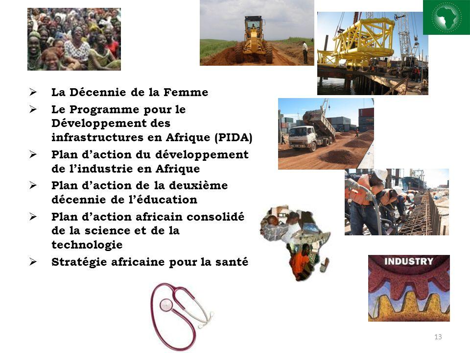 La Décennie de la Femme Le Programme pour le Développement des infrastructures en Afrique (PIDA) Plan daction du développement de lindustrie en Afrique Plan daction de la deuxième décennie de léducation Plan daction africain consolidé de la science et de la technologie Stratégie africaine pour la santé 13