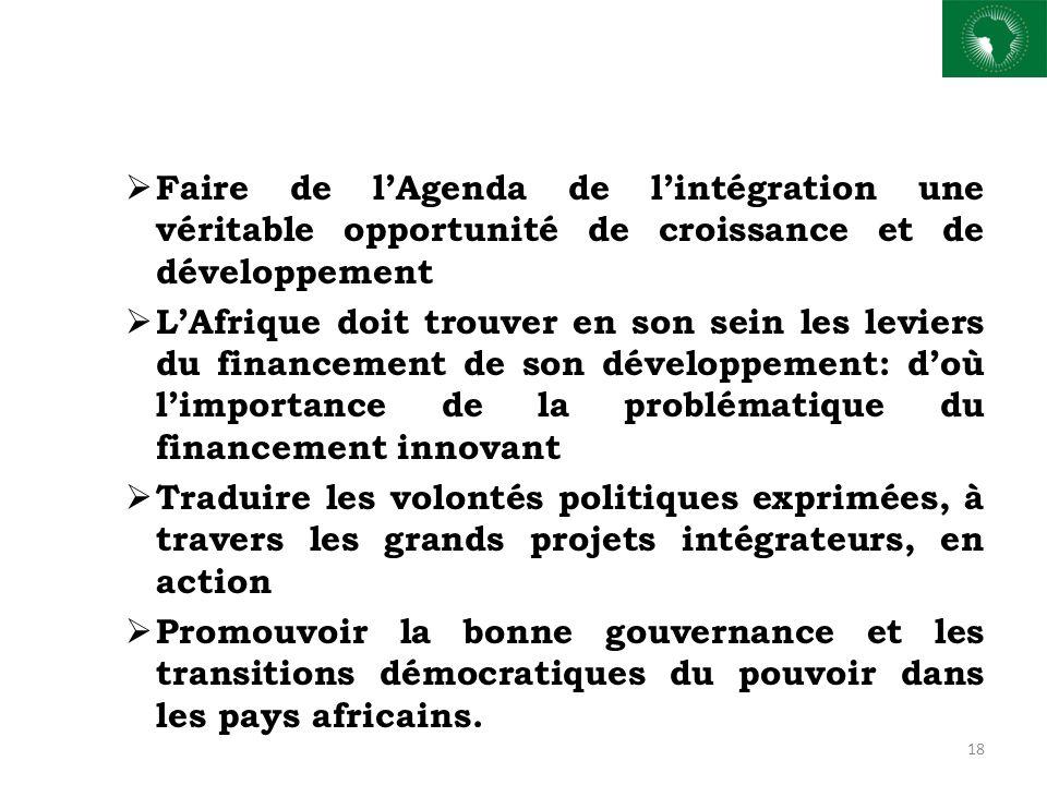 Faire de lAgenda de lintégration une véritable opportunité de croissance et de développement LAfrique doit trouver en son sein les leviers du financem