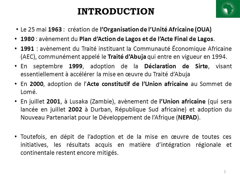 INTRODUCTION Le 25 mai 1963 : création de lOrganisation de lUnité Africaine (OUA) 1980 : avènement du Plan dAction de Lagos et de lActe Final de Lagos.