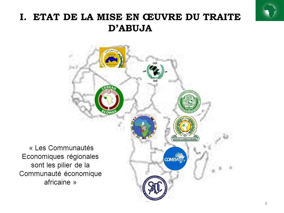 4 I. ETAT DE LA MISE EN ŒUVRE DU TRAITE DABUJA « Les Communautés Economiques régionales sont les pilier de la Communauté économique africaine »