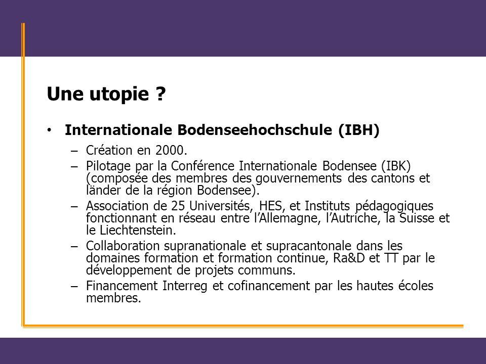 Une utopie ? Internationale Bodenseehochschule (IBH) – Création en 2000. – Pilotage par la Conférence Internationale Bodensee (IBK) (composée des memb