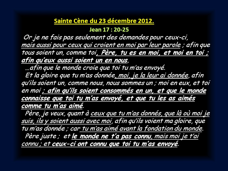 Sainte Cène du 23 décembre 2012.