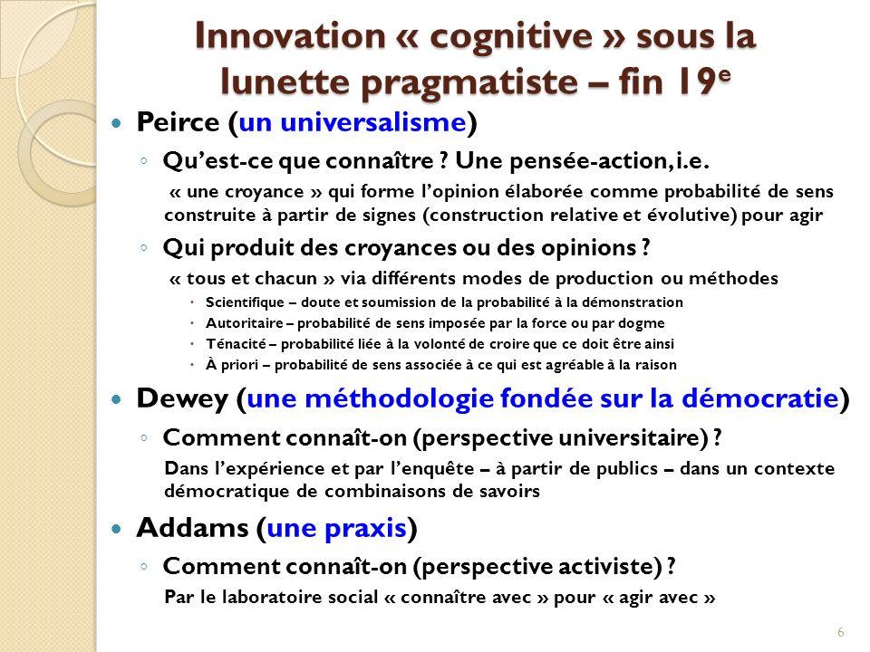 Innovation « cognitive » sous la lunette pragmatiste – fin 19 e Peirce (un universalisme) Quest-ce que connaître .