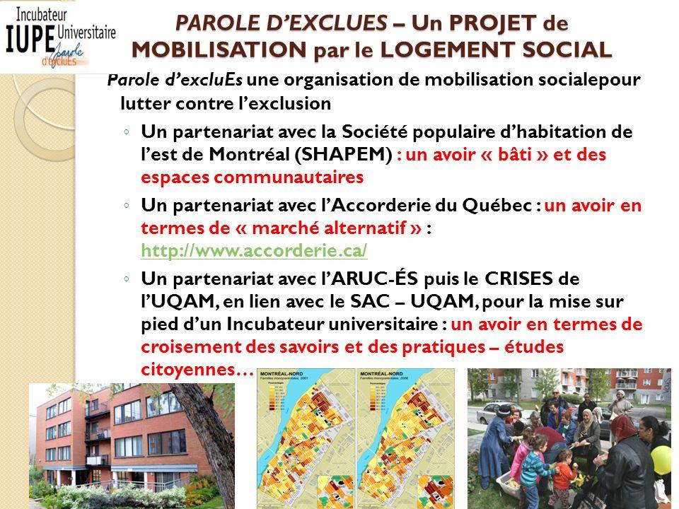 PAROLE DEXCLUES – Un PROJET de MOBILISATION par le LOGEMENT SOCIAL Parole dexcluEs une organisation de mobilisation socialepour lutter contre lexclusion Un partenariat avec la Société populaire dhabitation de lest de Montréal (SHAPEM) : un avoir « bâti » et des espaces communautaires Un partenariat avec lAccorderie du Québec : un avoir en termes de « marché alternatif » : http://www.accorderie.ca/ http://www.accorderie.ca/ Un partenariat avec lARUC-ÉS puis le CRISES de lUQAM, en lien avec le SAC – UQAM, pour la mise sur pied dun Incubateur universitaire : un avoir en termes de croisement des savoirs et des pratiques – études citoyennes… 8