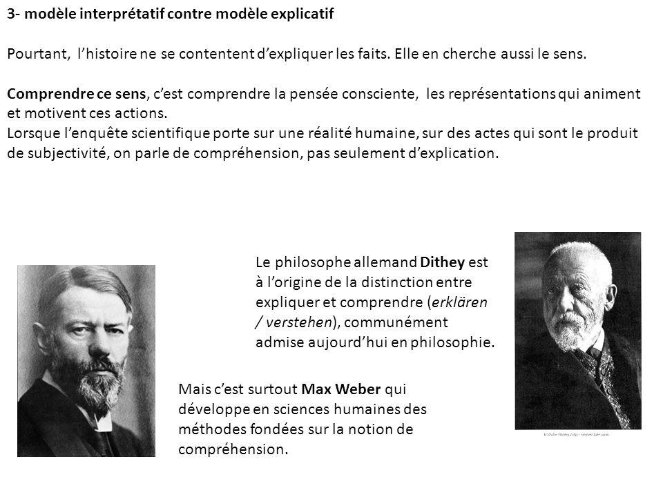 3- modèle interprétatif contre modèle explicatif Pourtant, lhistoire ne se contentent dexpliquer les faits.