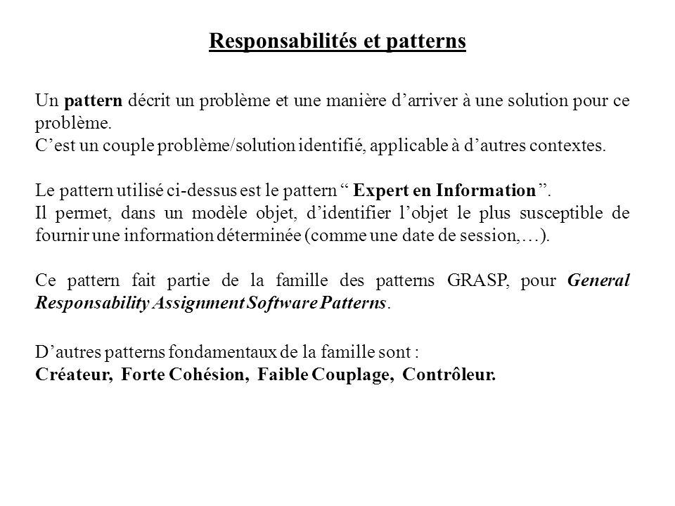 Responsabilités et patterns Un pattern décrit un problème et une manière darriver à une solution pour ce problème. Cest un couple problème/solution id