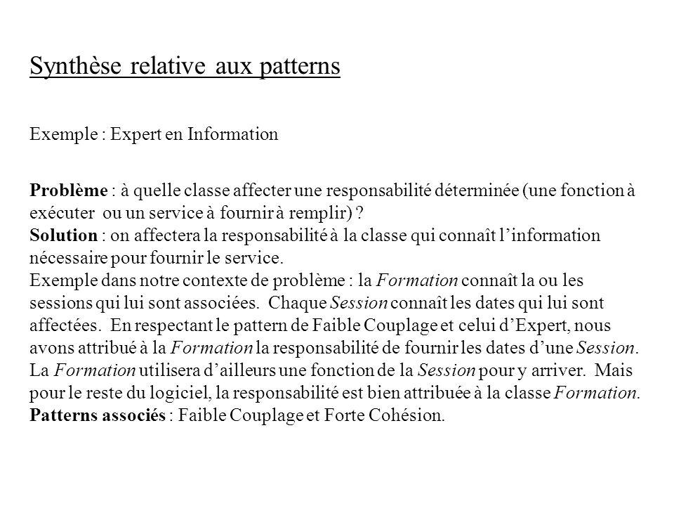 Synthèse relative aux patterns Exemple : Expert en Information Problème : à quelle classe affecter une responsabilité déterminée (une fonction à exécu