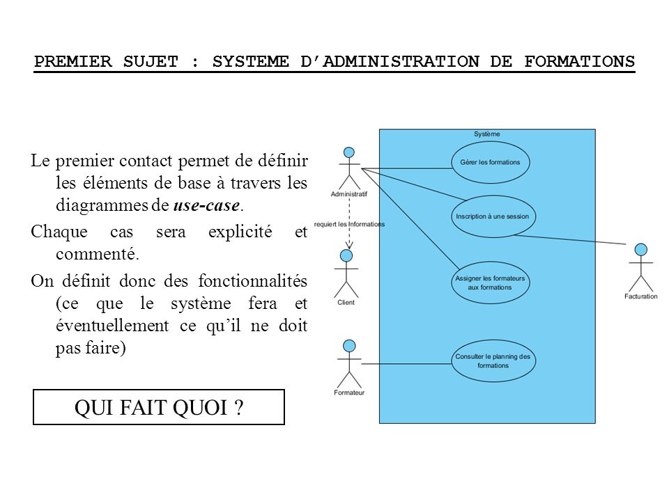 PREMIER SUJET : SYSTEME DADMINISTRATION DE FORMATIONS Le premier contact permet de définir les éléments de base à travers les diagrammes de use-case.