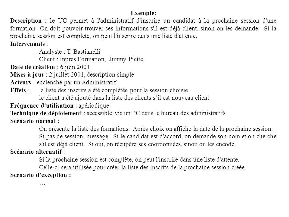 Exemple: Description : le UC permet à l'administratif d'inscrire un candidat à la prochaine session d'une formation On doit pouvoir trouver ses inform