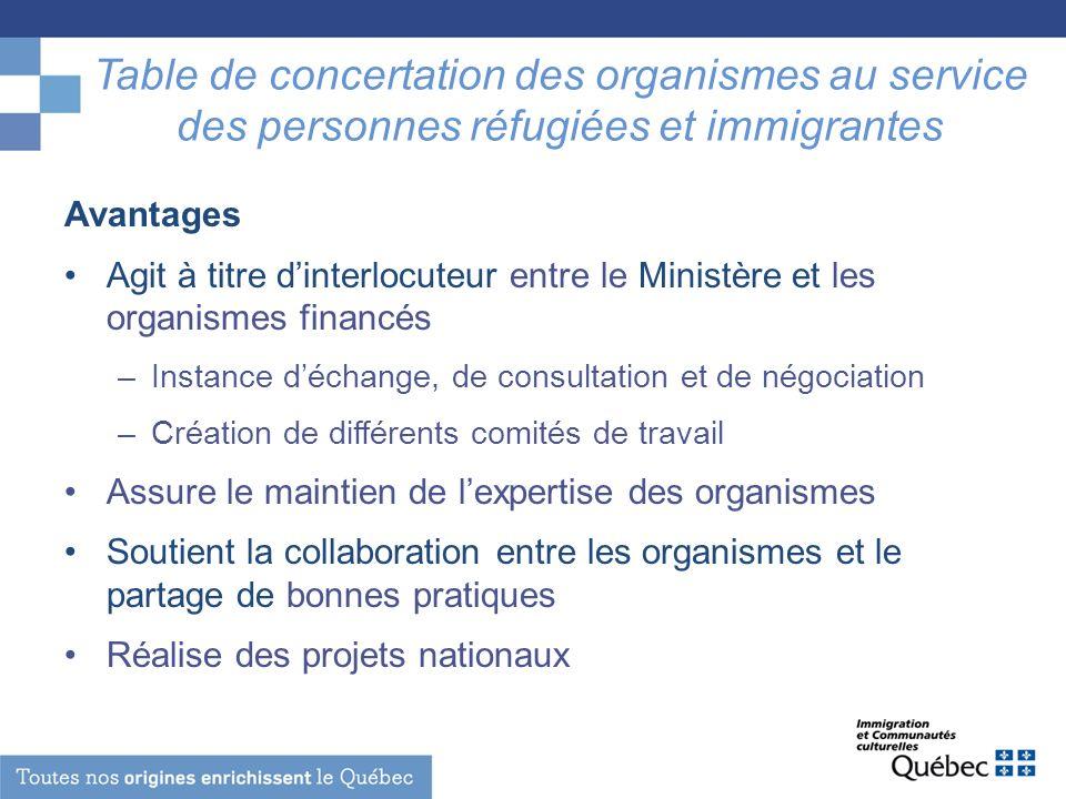 Table de concertation des organismes au service des personnes réfugiées et immigrantes Avantages Agit à titre dinterlocuteur entre le Ministère et les