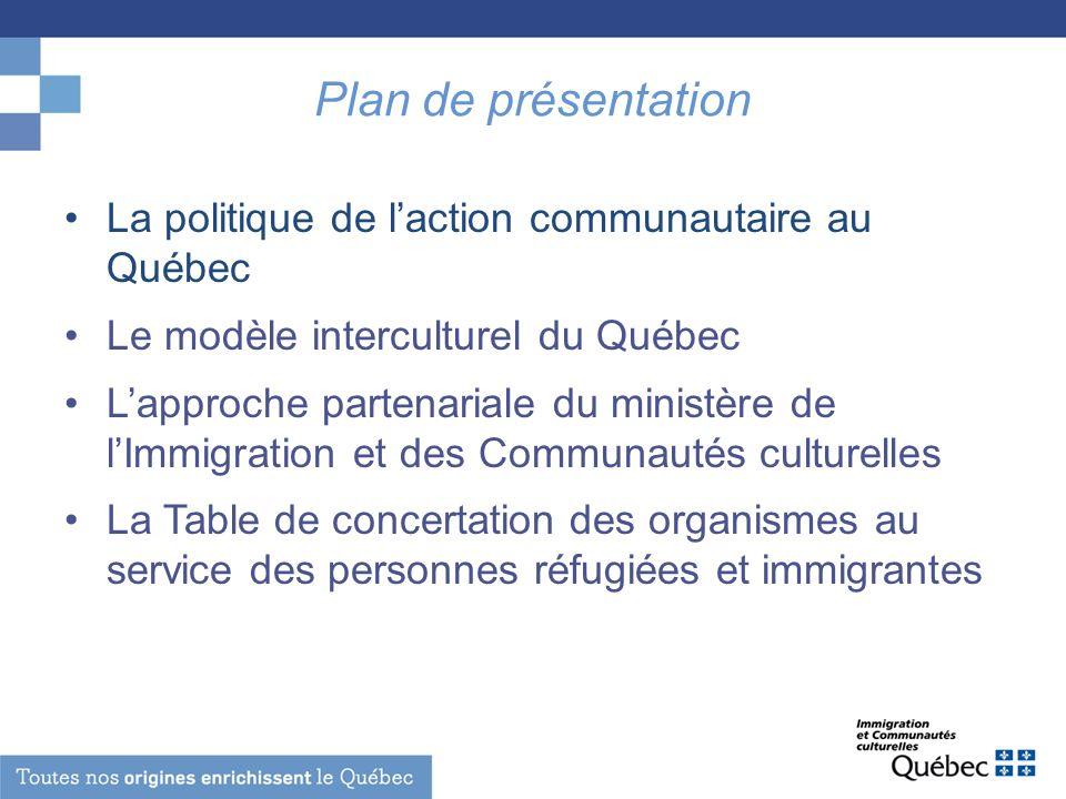Plan de présentation La politique de laction communautaire au Québec Le modèle interculturel du Québec Lapproche partenariale du ministère de lImmigra