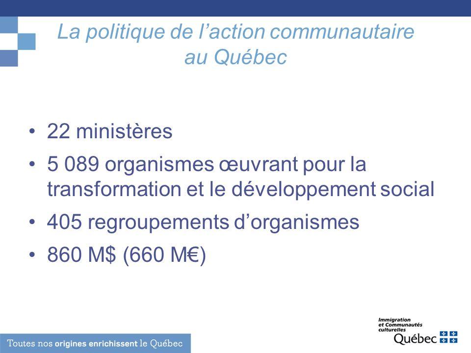 La politique de laction communautaire au Québec 22 ministères 5 089 organismes œuvrant pour la transformation et le développement social 405 regroupem