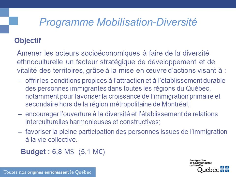 Programme Mobilisation-Diversité Objectif Amener les acteurs socioéconomiques à faire de la diversité ethnoculturelle un facteur stratégique de dévelo