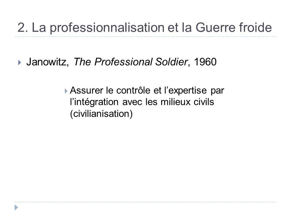 2. La professionnalisation et la Guerre froide Janowitz, The Professional Soldier, 1960 Assurer le contrôle et lexpertise par lintégration avec les mi