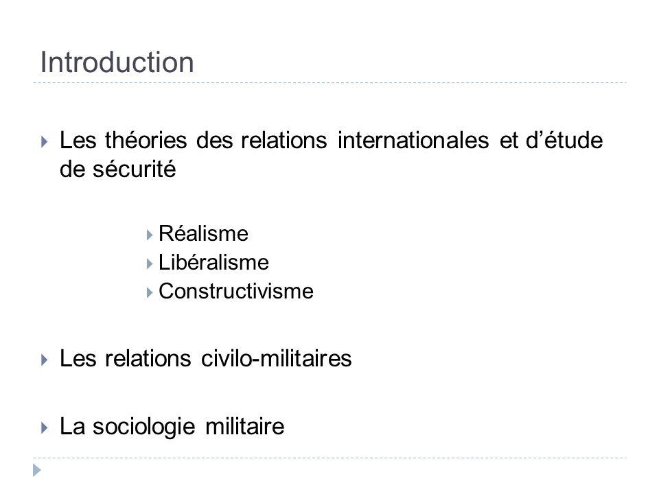Introduction Les théories des relations internationales et détude de sécurité Réalisme Libéralisme Constructivisme Les relations civilo-militaires La