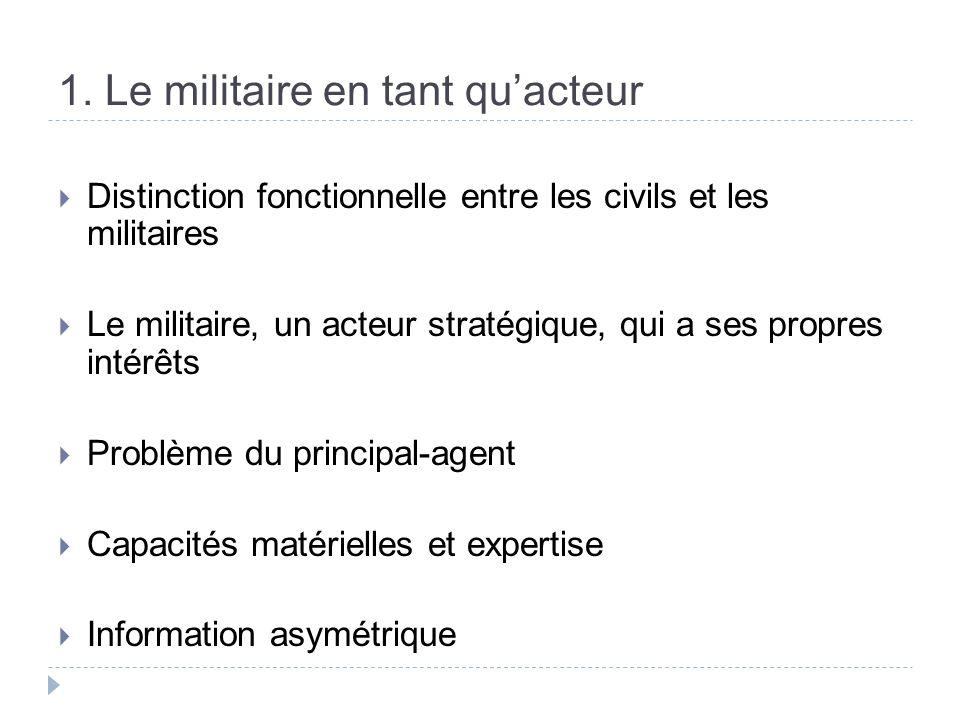 1. Le militaire en tant quacteur Distinction fonctionnelle entre les civils et les militaires Le militaire, un acteur stratégique, qui a ses propres i