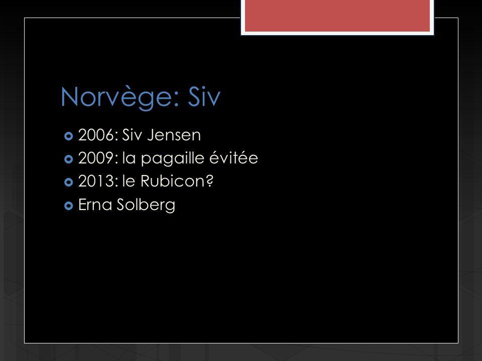 Norvège: Siv 2006: Siv Jensen 2009: la pagaille évitée 2013: le Rubicon? Erna Solberg