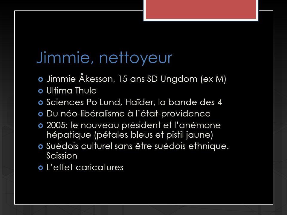 Jimmie, nettoyeur Jimmie Åkesson, 15 ans SD Ungdom (ex M) Ultima Thule Sciences Po Lund, Haïder, la bande des 4 Du néo-libéralisme à létat-providence