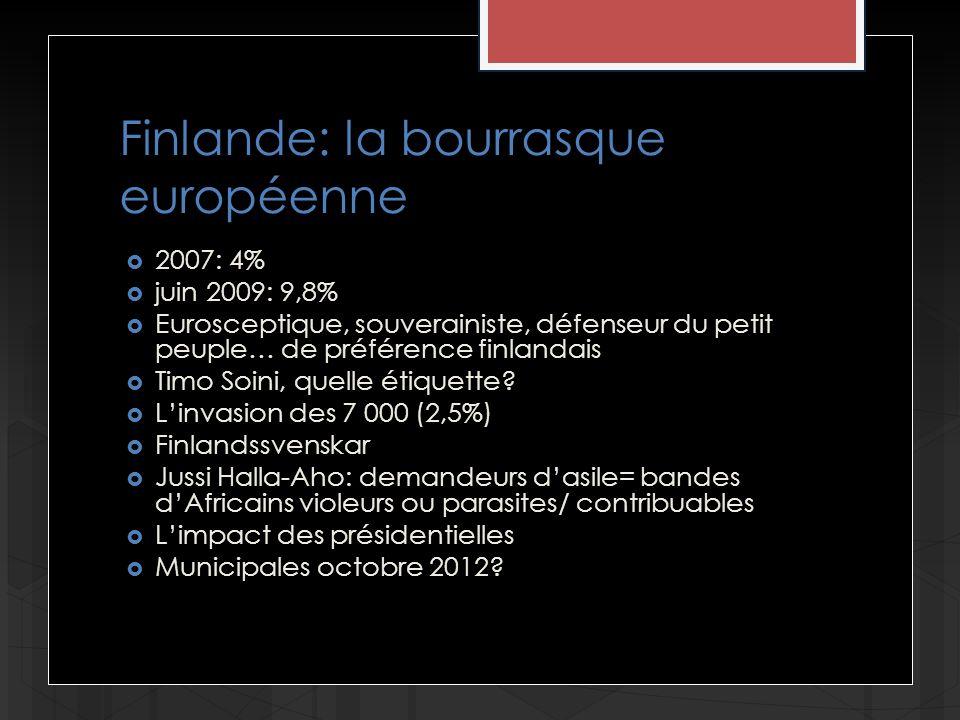 Finlande: la bourrasque européenne 2007: 4% juin 2009: 9,8% Eurosceptique, souverainiste, défenseur du petit peuple… de préférence finlandais Timo Soini, quelle étiquette.