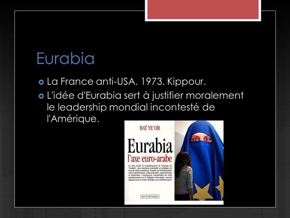 Eurabia La France anti-USA. 1973. Kippour. L'idée d'Eurabia sert à justifier moralement le leadership mondial incontesté de l'Amérique.
