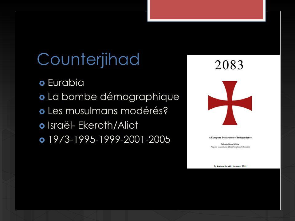 Counterjihad Eurabia La bombe démographique Les musulmans modérés? Israël- Ekeroth/Aliot 1973-1995-1999-2001-2005