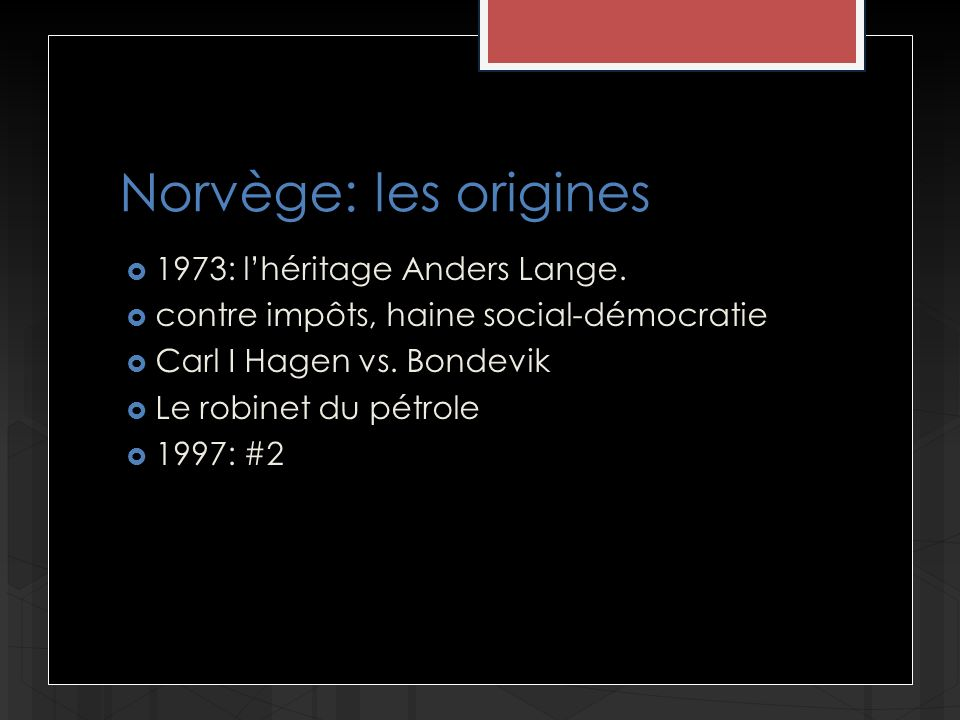 Norvège: les origines 1973: lhéritage Anders Lange.