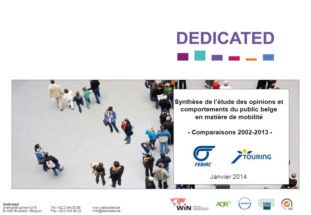 52© Dedicated 2013 Pour rappel, le sondage a été réalisé fin décembre 2013 ; il a porté sur un échantillon représentatif de 1.000 Belges âgés de 18 ans à 75 (qui doivent se déplacer au moins une moins une fois par jour, ce qui représente environ 95 % de la population des 18-75 ans).