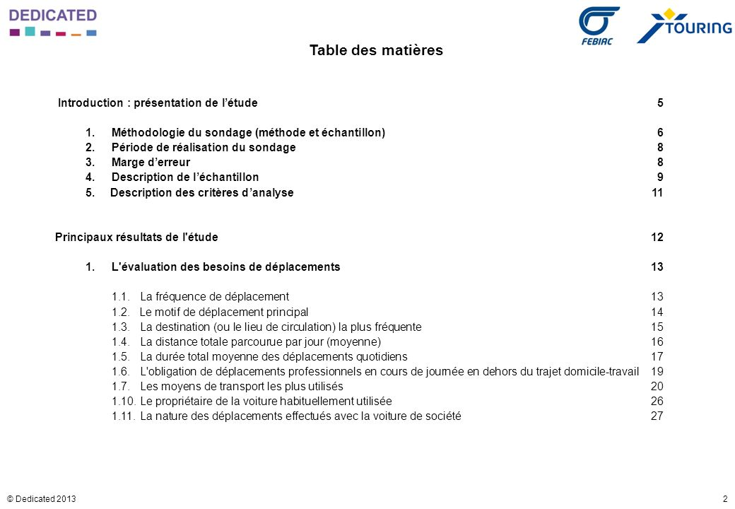 2© Dedicated 2013 Table des matières Introduction : présentation de létude5 1. Méthodologie du sondage (méthode et échantillon)6 2.Période de réalisat