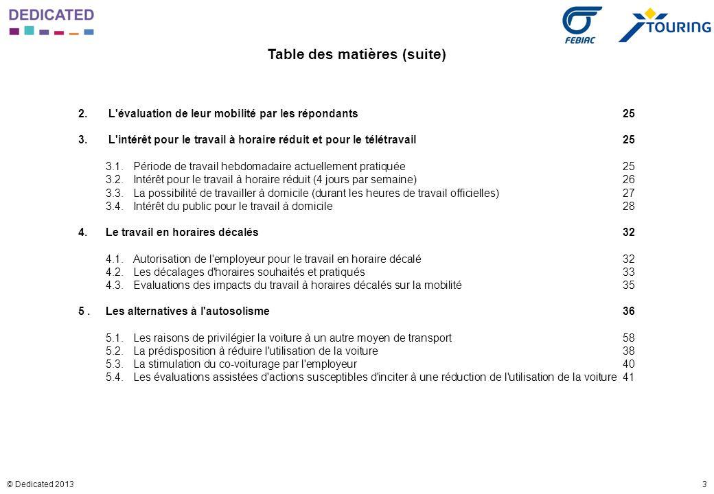 3© Dedicated 2013 Table des matières (suite) 2. L'évaluation de leur mobilité par les répondants25 3. L'intérêt pour le travail à horaire réduit et po